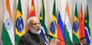 The Prime Minister, Shri Narendra Modi at the Leaders dialogue with the BRICS Business Council and New Development Bank, in Brasilia, Brazil on November 14, 2019.