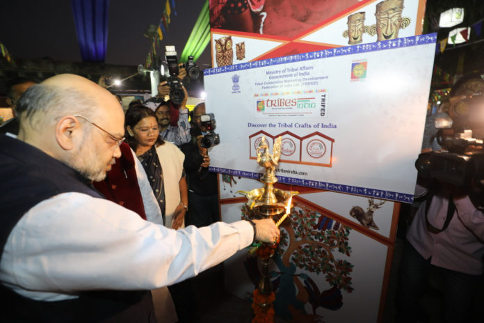 "The Union Home Minister, Shri Amit Shah inaugurating the National Tribal Festival ""Aadi Mahotsav - 2019"", organised by the Ministry of Tribal Affairs, in New Delhi on November 16, 2019."