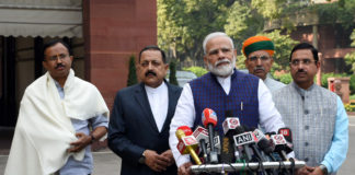 The Prime Minister, Shri Narendra Modi addressing the media ahead of the winter session of Parliament, in New Delhi on November 19, 2019. The Union Minister for Parliamentary Affairs, Coal and Mines, Shri Pralhad Joshi, the Minister of State for Development of North Eastern Region (I/C), Prime Minister's Office, Personnel, Public Grievances & Pensions, Atomic Energy and Space, Dr. Jitendra Singh, the Minister of State for Parliamentary Affairs and Heavy Industries & Public Enterprises, Shri Arjun Ram Meghwal and the Minister of State for External Affairs and Parliamentary Affairs, Shri V. Muraleedharan are also seen.