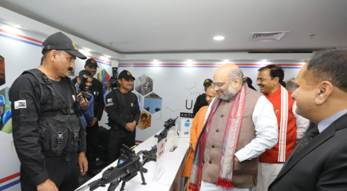 The Union Home Minister, Shri Amit Shah presiding over the 47th All India Police Science Congress, in Lucknow, Uttar Pradesh on November 29, 2019. The Chief Minister of Uttar Pradesh, Yogi Adityanath is also seen.