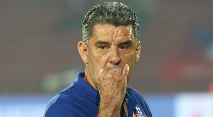 Chennaiyin FC Head Coach John Gregory during match 61 of the Hero Indian Super League 2018 ( ISL ) between NorthEast United FC and Chennaiyin FC held at the Indira Gandhi Athletic Stadium, Guwahati, India on the 26th January 2019 Photo by Saikat Das /SPORTZPICS for ISL