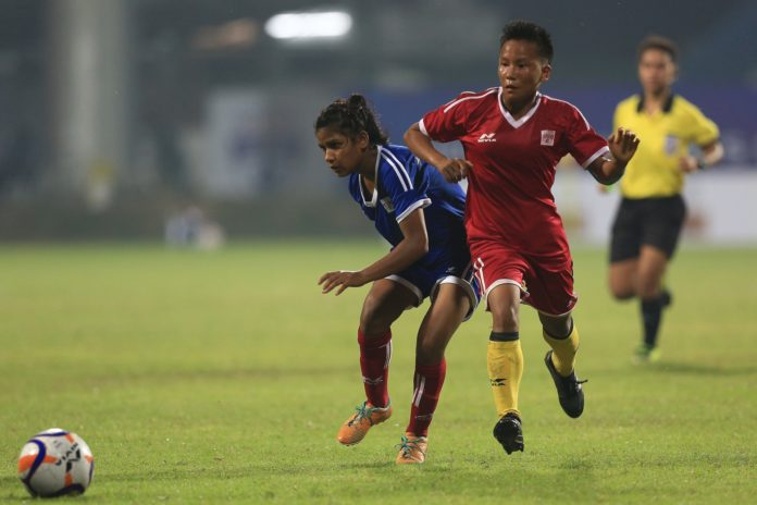 Tigresses and Panthers players fight for ball during match 3 of the Hero U17 Women's Championship between the Tigresses and the Panthers held at the Kalyani Stadium, Kaylani, West Bengal, India on the 13th November 2019. Photo by: Arjun Singh / SPORTZPICS for ISL