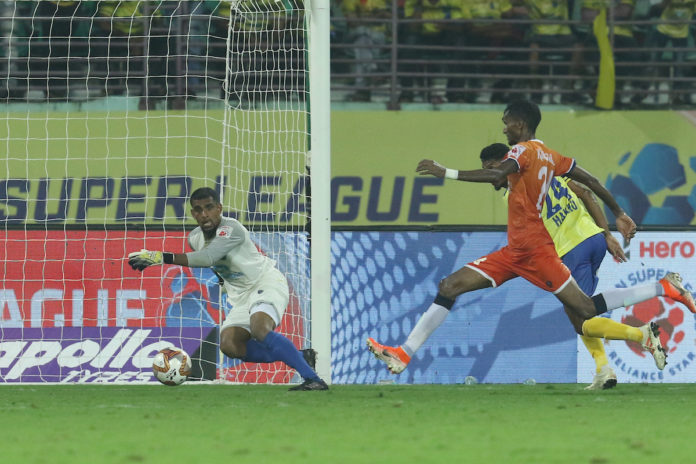 Lenny Rodrigues of FC Goa takes a kick to score a goal during match 29 of the Indian Super League ( ISL ) between the Kerala Blasters FC and FC Goa held at the Jawaharlal Nehru Stadium, Kochi, India on the 1st December 2019. Photo by: Faheem Hussain / SPORTZPICS for ISL