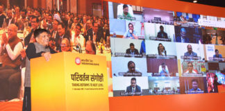 The Union Minister for Railways and Commerce & Industry, Shri Piyush Goyal addressing the Senior Railway Officers at the 'Parivartan Sangoshthi 2019', organised by the Ministry of Railways, at Pravasi Bhartiya Kendra, in New Delhi on December 07, 2019.