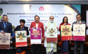 The Union Minister for Health & Family Welfare, Science & Technology and Earth Sciences, Dr. Harsh Vardhan unveiling the Ayushman Bharat PMJAY 2020 calendar, at the Universal Health Coverage Day celebration, in New Delhi on December 12, 2019. The Minister of State for Health and Family Welfare, Shri Ashwini Kumar Choubey, the Secretary, Ministry of Health & Family Welfare, Smt. Preeti Sudan and other dignitaries are also seen.