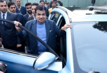 The Union Minister for Road Transport & Highways and Micro, Small & Medium Enterprises, Shri Nitin Gadkari launching the India's First Pure Electric Internet SUV ZS EV of MG Motor India, in New Delhi on December 19, 2019.