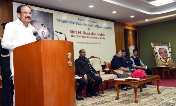 The Vice President, Shri M. Venkaiah Naidu addressing the gathering at an event to release the book titled - 'The Renaissance Man - The Many Facets of Arun Jaitley,'in New Delhi on December 28, 2019. The Speaker, Lok Sabha, Shri Om Birla and other dignitaries are also seen.
