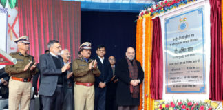 The Union Home Minister, Shri Amit Shah at the foundation stone laying ceremony of the new headquarters of CRPF, in New Delhi on December 29, 2019. The Minister of State for Home Affairs, Shri Nityanand Rai, the Cabinet Secretary, Shri Rajiv Gauba, the Union Home Secretary, Shri Ajay Kumar Bhalla and other dignitaries are also seen.