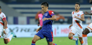 Sunil Chhetri's brace helped Bengaluru FC defeat FC Goa in their Hero ISL clash today at Sree Kanteerava Stadium, Bengaluru