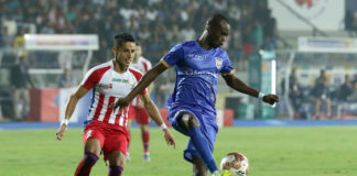 MCFC's Modou Sougou and ATK's Sumit Rathi in action during their Hero ISL clash today