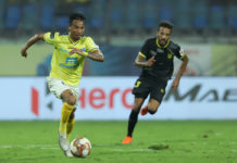 Seityasen Singh scored his maiden goal in Kerala Blasters FC colours during their Hero ISL clash against Hyderabad FC