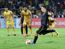 Marko Stankovic of Hyderabad FC scores a goal of a penalty kick during match 66 of the Indian Super League ( ISL ) between Hyderabad FC and Mumbai City FC held at the G.M.C. Balayogi Athletic Stadium, Hyderabad, India on the 24th January 2020. Photo by: Vipin Pawar / SPORTZPICS for ISL