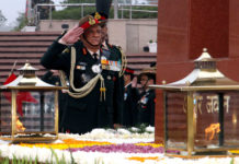 The Chief of Army Staff, General Bipin Rawat paying homage at the National War Memorial, in New Delhi on December 31, 2019.