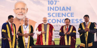 The Prime Minister, Shri Narendra Modi launching I-STEM Portal at the inauguration of the 107th session of Indian Science Congress at University of Agricultural Sciences, in Bengaluru on January 03, 2020. The Union Minister for Health & Family Welfare, Science & Technology and Earth Sciences, Dr. Harsh Vardhan and The Chief Minister of Karnataka, Shri B.S. Yediyurappa and other dignitaries are also seen.