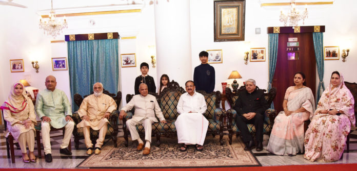 The Vice President, Shri M. Venkaiah Naidu at Amir Mahal, the residence of the Prince of Arcot, Nawab Mohammed Abdul Ali with his family members, in Chennai on January 12, 2020. The Governor of Tamil Nadu, Shri Banwarilal Purohit is also seen.