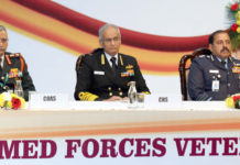 The Chief of Naval Staff, Admiral Karambir Singh, the Chief of the Air Staff, Air Chief Marshal R.K.S. Bhadauria and the Chief of the Army Staff, General Manoj Mukund Naravane at a programme organised to mark Armed Forces Veterans' Day, in New Delhi on January 14, 2020.