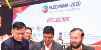 The Union Minister for Environment, Forest & Climate Change, Information & Broadcasting and Heavy Industries and Public Enterprise, Shri Prakash Javadekar lighting the lamp to inaugurate the Elecrama 2020, at India Expo Mart, in Greater Noida on January 18, 2020. The Minister of State for Power, New & Renewable Energy (Independent Charge) and Skill Development & Entrepreneurship, Shri Raj Kumar Singh is also seen.