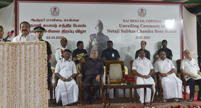 The Vice President, Shri M. Venkaiah Naidu addressing the gathering after unveiling the statue of Netaji Subhash Chandra Bose on his 123rd Birth Anniversary, at Raj Bhawan, in Chennai on January 23, 2020. The Governor of Tamil Nadu, Shri Banwarilal Purohit, the Chief Minister of Tamil Nadu, Shri Edappadi K. Palaniswami and other dignitaries are also seen.