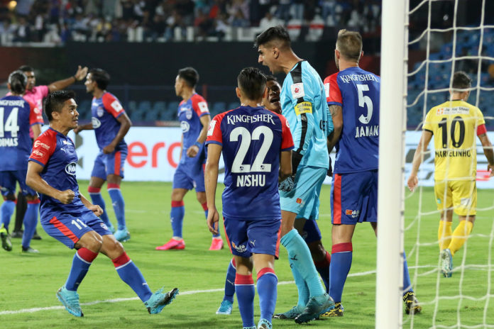 Gurpreet Singh Sandhu goalkeeper of Bengaluru FC reacts after saving a penalty kick during match 70 of the Indian Super League ( ISL ) between Bengaluru FC and Hyderabad FC held at the Sree Kanteerava Stadium, Bengaluru, India on the 30th January 2020. Photo by: Faheem Hussain / SPORTZPICS for ISL