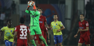 Subhasish Roy Goalkeeper of Northeast United FC in action during match 76 of the Indian Super League ( ISL ) between NorthEast United FC and Kerala Blasters FC held at the Indira Gandhi Athletic Stadium, Guwahati, India on the 7th February 2020. Photo by: Arjun Singh / SPORTZPICS for ISL