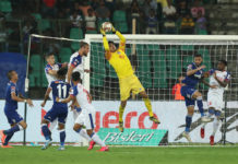 Gurpreet Singh Sandhu goalkeeper of Bengaluru FC during match 78 of the Indian Super League ( ISL ) between Chennaiyin FC and Bengaluru FC held at the Jawaharlal Nehru Stadium, Chennai, India on the 9th January 2020. Photo by: Ron Gaunt / SPORTZPICS for ISL