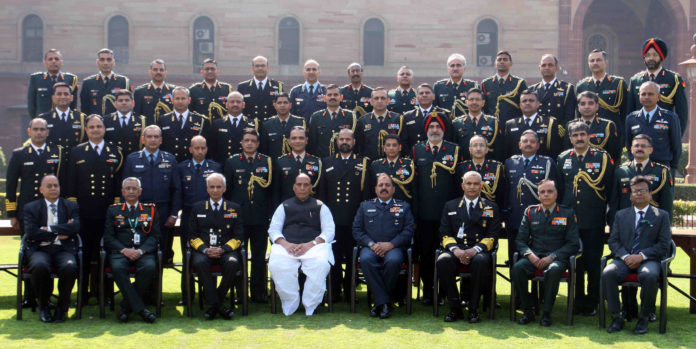 The Union Minister for Defence, Shri Rajnath Singh with Defence Attaches, during the 3rd Defence Attaches Conference, in New Delhi on February 03, 2020. The Chief of Naval Staff, Admiral Karambir Singh, the Chief of the Air Staff, Air Chief Marshal R.K.S. Bhadauria, the Chief of the Army Staff, General Manoj Mukund Naravane and the Defence Secretary, Dr. Ajay Kumar are also seen.