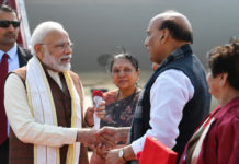 "The Prime Minister, Shri Narendra Modi being welcomed by the Governor of Uttar Pradesh, Smt. Anandiben Patel and the Union Minister for Defence, Shri Rajnath Singh, on his arrival, at Lucknow, to inaugurate the 11th Edition of the Biennial Mega Defence Exhibition ""DefExpo2020"", in Uttar Pradesh on February 05, 2020."