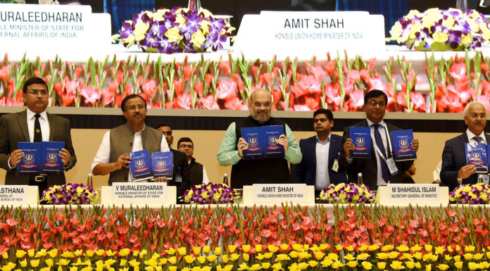 The Union Home Minister, Shri Amit Shah releasing the administrative and operational manuals of Narcotics Control Bureau (NCB), at the inauguration of the two-day BIMSTEC (Bay of Bengal Initiative for Multi-Sectoral Technical and Economic Cooperation) 'Conference on Combating Drug Trafficking', in New Delhi on February 13, 2020. The Minister of State for External Affairs and Parliamentary Affairs, Shri V. Muraleedharan, the Union Home Secretary, Shri Ajay Kumar Bhalla and other dignitaries are also seen.