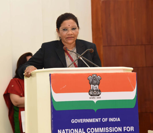 """The Minister of State for Tribal Affairs, Smt. Renuka Singh addressing the gathering at the celebrations of the """"16th Foundation Day of National Commission for Scheduled Tribes (NCST)"""", in New Delhi on February 19, 2020."""