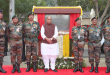 The Union Minister for Defence, Shri Rajnath Singh unveiling the plaque to lay the foundation stone of Thal Sena Bhawan, at Delhi Cantt., New Delhi on February 21, 2020. The Chief of the Army Staff, General Manoj Mukund Naravane is also seen.