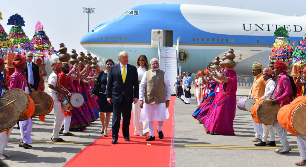 The Prime Minister, Shri Narendra Modi welcoming the President of United States of America (USA), Mr. Donald Trump and First Lady Mrs. Melania Trump, on their arrival at Sardar Vallabhbhai Patel International Airport, at Ahmedabad, Gujarat on February 24, 2020.