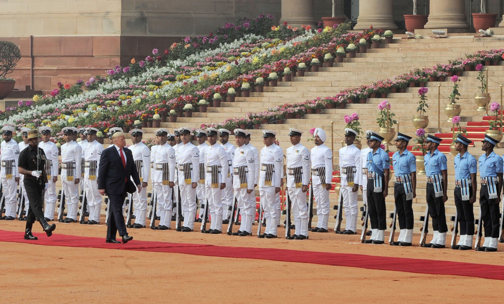 The President of United States of America (USA), Mr. Donald Trump inspecting the Guard of Honour, at the Ceremonial Reception, at Rashtrapati Bhavan, in New Delhi on February 25, 2020.