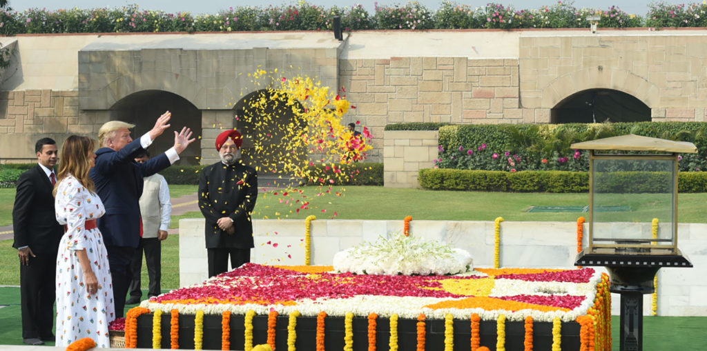 The President of United States of America (USA), Mr. Donald Trump and First Lady Mrs. Melania Trump paying floral tributes at the Samadhi of Mahatma Gandhi, at Rajghat, in Delhi on February 25, 2020. The Minister of State for Housing & Urban Affairs, Civil Aviation (Independent Charge) and Commerce & Industry, Shri Hardeep Singh Puri is also seen.