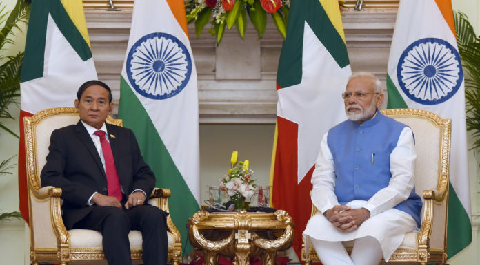 The Prime Minister, Shri Narendra Modi and the President of Myanmar, Mr. U. Win Myint during the exchange of Agreements between India and Myanmar, at Hyderabad House, in New Delhi on February 27, 2020.