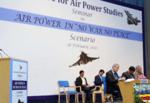 "The Union Minister for Defence, Shri Rajnath Singh addressing a Seminar on ""Air Power in 'No War No Peace' Scenario"", in New Delhi on February 28, 2020. The Chief of Defence Staff (CDS), General Bipin Rawat, the Chief of Naval Staff, Admiral Karambir Singh, the Chief of the Air Staff, Air Chief Marshal R.K.S. Bhadauria, the Secretary, Department of Defence R&D and Chairman, DRDO, Dr. G. Satheesh Reddy and the DG, Centre for Air Power Studies, Air Marshal K.K. Nohwar (Retd.) are also seen."
