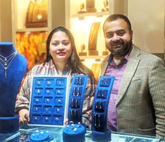 Mr. Suvankar Sen, Executive Director, Senco Gold & Diamonds with Ms Joita Sen, Head of Jewellery Design, Senco Gold & Diamonds at Everlite store in Acropolis Mall, Kolkata.