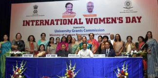 The Union Minister for Human Resource Development, Dr. Ramesh Pokhriyal 'Nishank' with the Vice Chancellors of Women Universities and Women Principals of Delhi Colleges, at an event to mark the International Women's Day, in New Delhi on March 06, 2020.