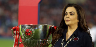 Mrs. Nita Ambani, Founding Chairperson of Hero Indian super league during the final of the Hero Indian Super League 2018 ( ISL ) between Bengaluru FC and FC Goa held at The Mumbai Football Arena in Mumbai, India on the 17th March 2019 Photo by: Sandeep Shetty /SPORTZPICS for ISL