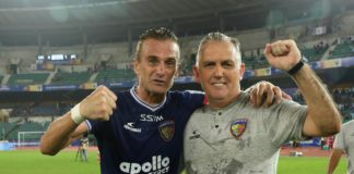 Lucian Goian of Chennaiyin FC and Owen Coyle head coach of Chennaiyin FC celebrates after winning the match 65 of the Indian Super League ( ISL ) between Chennaiyin FC and Jamshedpur FC held at the Jawaharlal Nehru Stadium, Chennai, India on the 23rd January 2020. Photo by: Sandeep Shetty / SPORTZPICS for ISL