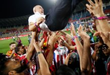 ATK FC celebrating during the final of the Indian Super League ( ISL ) between ATK FC and Chennaiyin FC held at the Jawaharlal Nehru Stadium, Goa, India on the 14th March 2020. Photo by: Saikat Das / SPORTZPICS for ISL