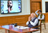 The Prime Minister, Shri Narendra Modi interacting with the eminent sportspersons about COVID-19 via video conference, in New Delhi on April 03, 2020.