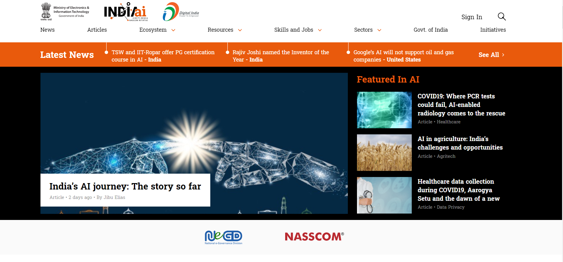 Artificial Intelligence Website GOI