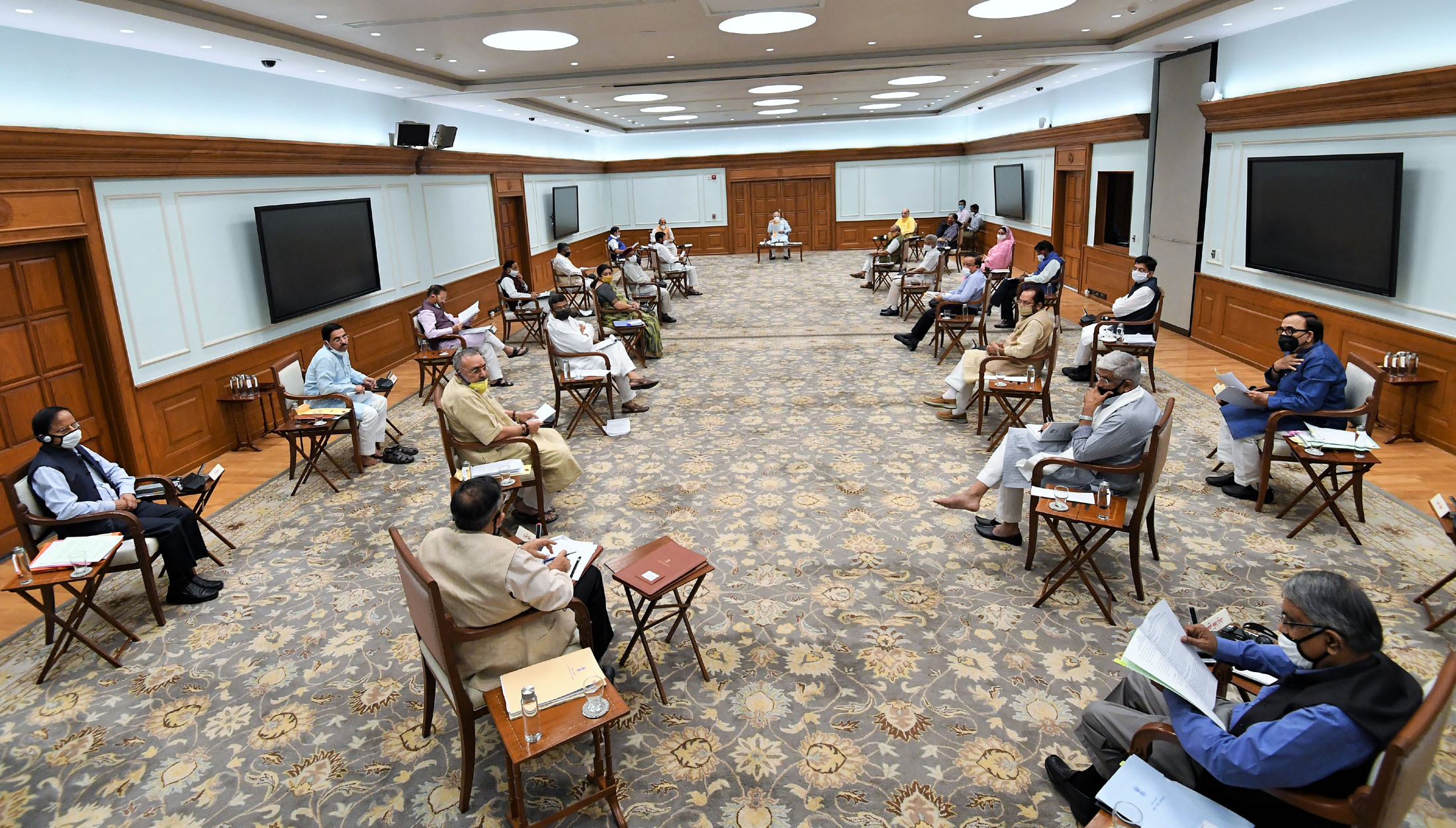 The Prime Minister, Shri Narendra Modi chairing the Cabinet meeting, in New Delhi on June 01, 2020.