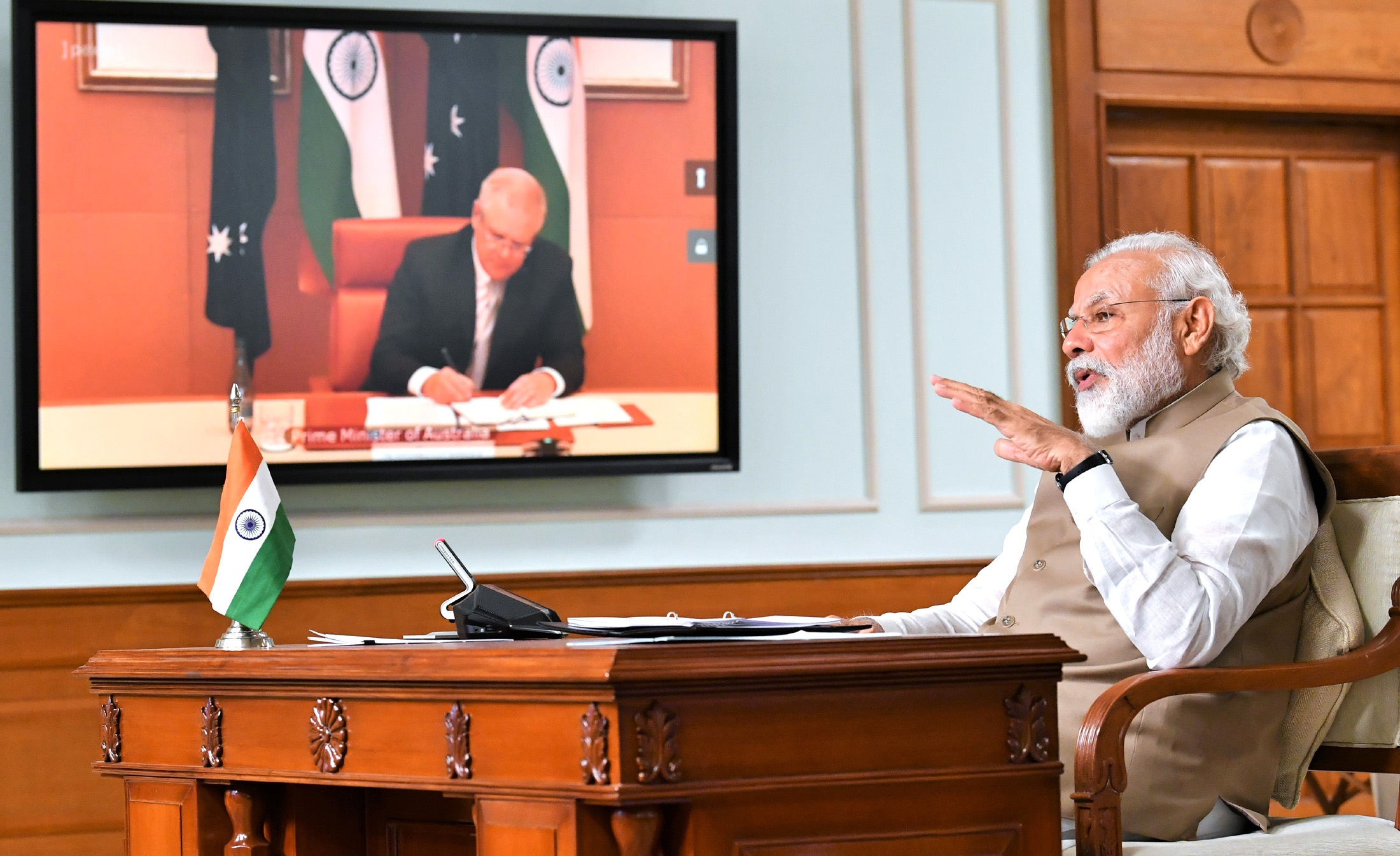 The Prime Minister, Shri Narendra Modi with the Prime Minister of Australia, Mr. Scott Morrison at the India - Australia Leaders' Virtual Summit, in New Delhi on June 04, 2020.