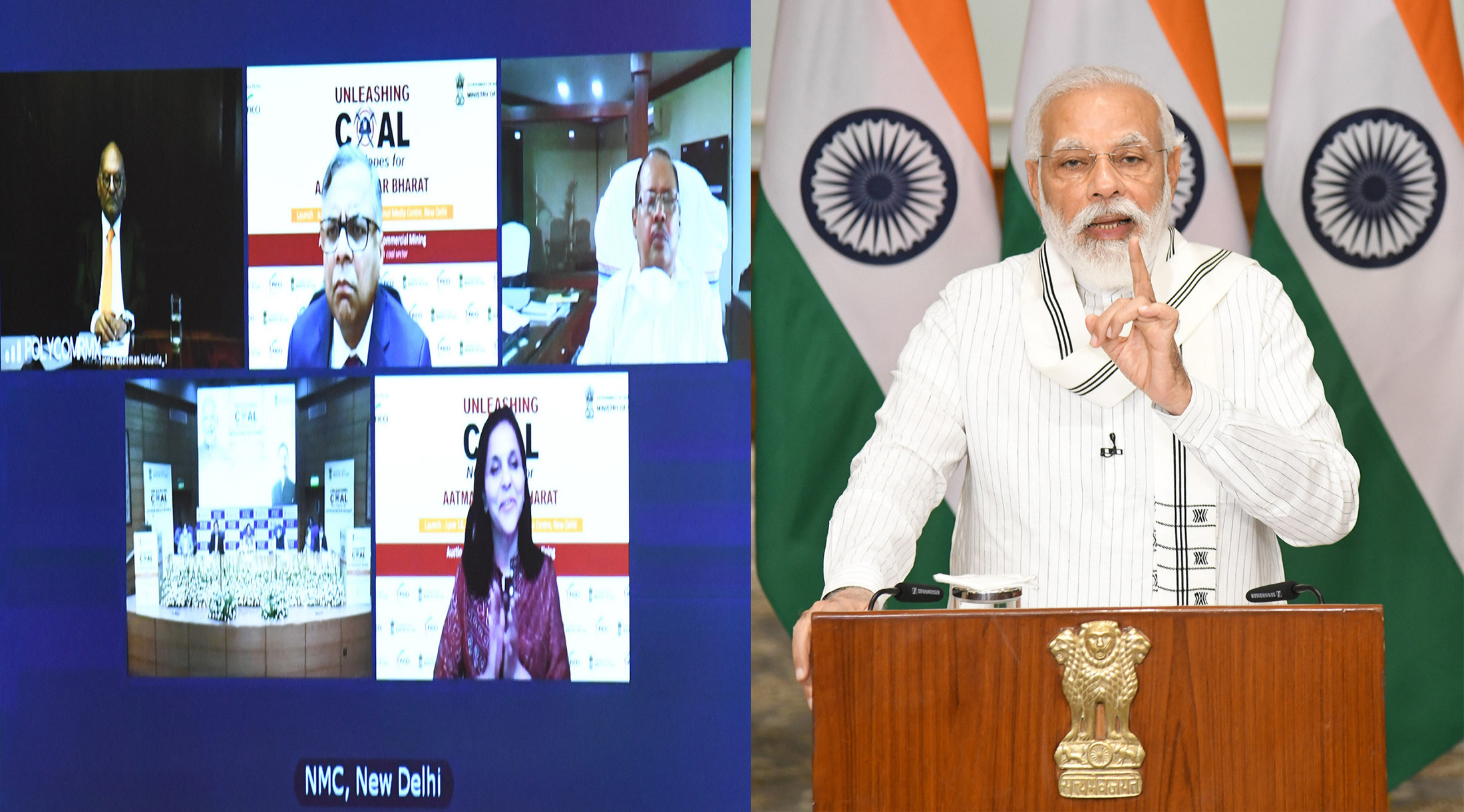 The Prime Minister, Shri Narendra Modi addressing at the launch of the auction process of Coal blocks for Commercial mining through video conference, in New Delhi on June 18, 2020.