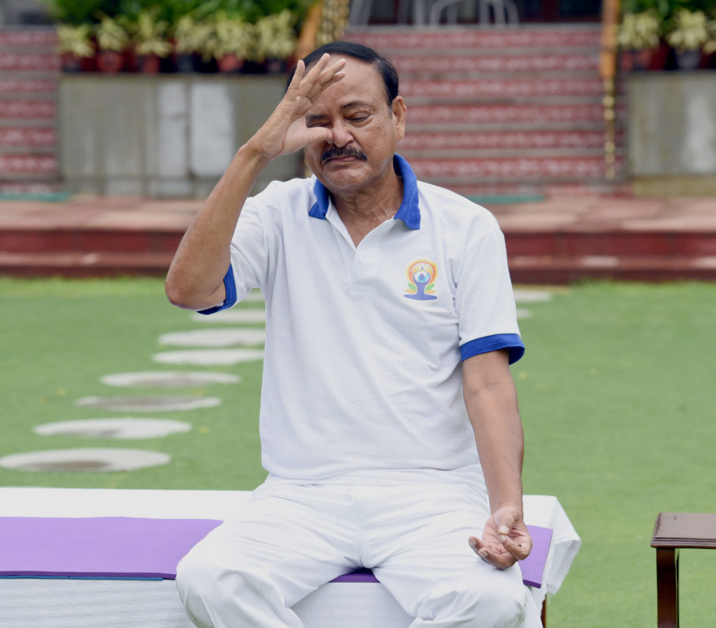 The Vice President, Shri M. Venkaiah Naidu performing Yoga, on the occasion of the 6th International Day of Yoga 2020, in New Delhi on June 21, 2020.