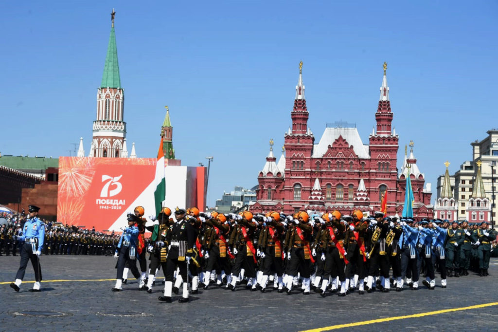 The Indian Tri-Service contingent taking part in the Victory Day Parade at Red Square to commemorate the 75th Anniversary of victory of Soviet people in the great Patriotic War of 1941-1945, in Moscow on June 24, 2020.