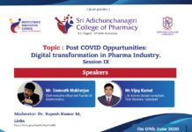 "Sri Adichunchanagiri College of Pharmacy - ""POST COVID OPPURTUNITIES: DIGITAL TRANSFORMATION IN PHARMA INDUSTRY"