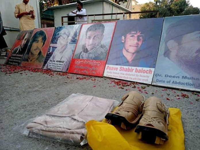 A Baloch mother bought new shoes, new cloths for her son, is kept in Punjabi Pakistan army and ISI torture cells, she waited for his recovery but he is not released. Now she came with all those cloths and shows and displayed them in hunger strike camp to ask the world Where is the UN and other human rights champions?