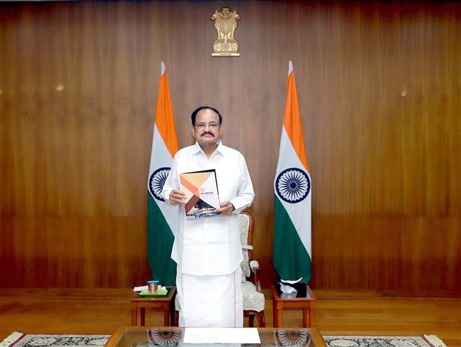 The Vice President, Shri M. Venkaiah Naidu releasing the IIT-Delhi vision document for 2030, at the inaugural ceremony of the Diamond Jubilee Celebrations of the Indian Institute of Technology, Delhi, through video conferencing, in New Delhi on August 17, 2020.